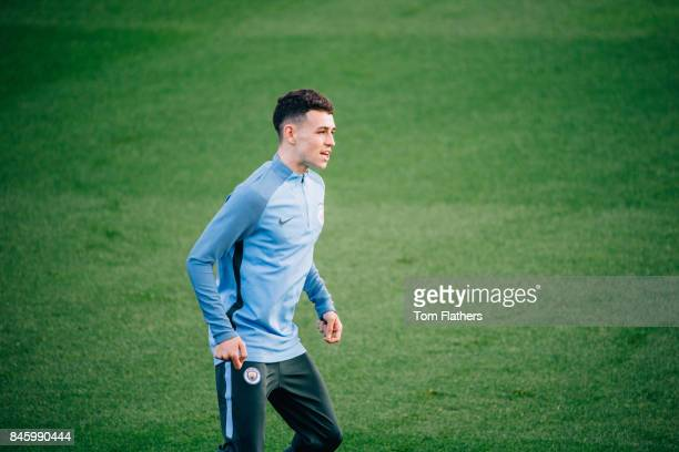 Manchester City's Phil Foden at Manchester City Football Academy on September 12 2017 in Manchester England