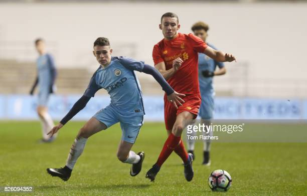 Manchester City's Phil Foden in action against Liverpool in the FA Youth Cup