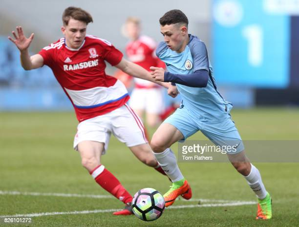 Manchester City's Phil Foden in action against Middleborough