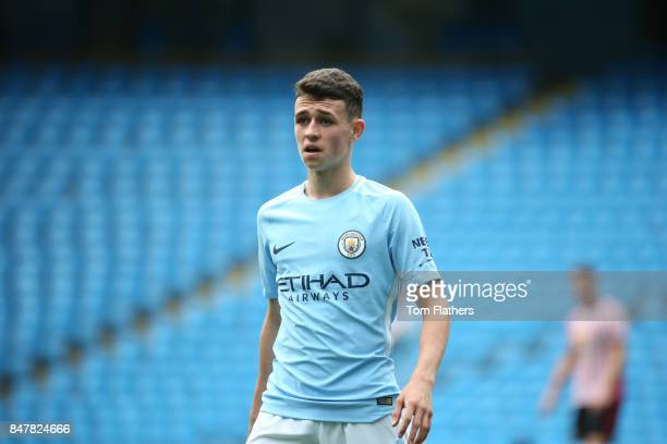Manchester City's Phil Foden in action at Etihad Stadium on September 16 2017 in Manchester England