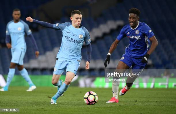Manchester City's Phil Foden in the FA Youth Cup Final against Chelsea