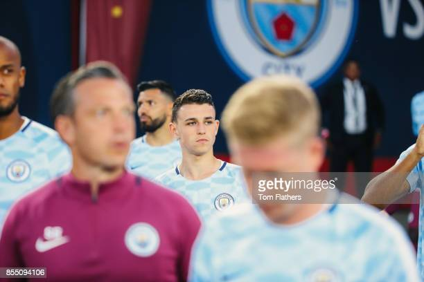 Manchester City's Phil Foden prior to the match at the Los Angeles Memorial Coliseum on July 26 2017 in Los Angeles California