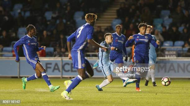 Manchester City's Phil Foden scores in the FA Youth Cup Final against Chelsea