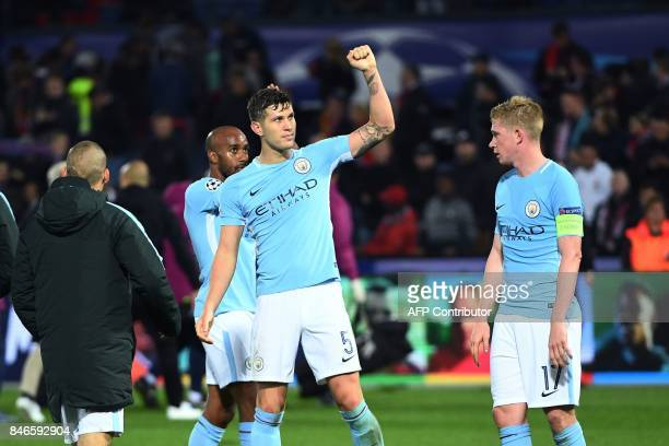 Manchester City's players celebrate after winning the UEFA Champions League Group F football match between Feyenoord Rotterdam and Manchester City at...