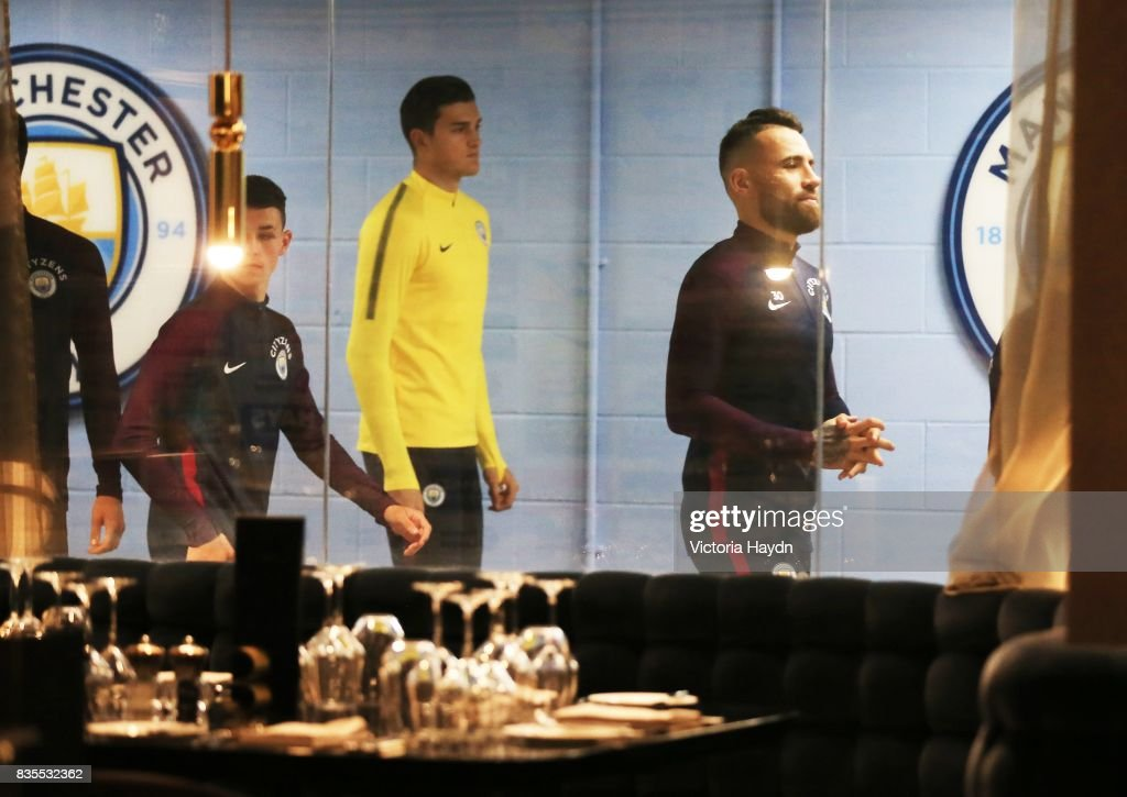 Manchester City's players visit The Tunnel Club, the first and only hospitality suite to be centered around a glass tunnel at Etihad Stadium on August 19, 2017 in Manchester, England.