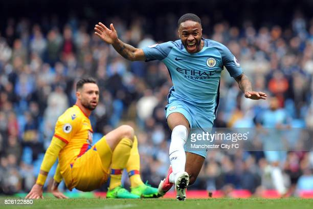 Manchester City's Raheem Sterling and Crystal Palace's Damien Delaney in action