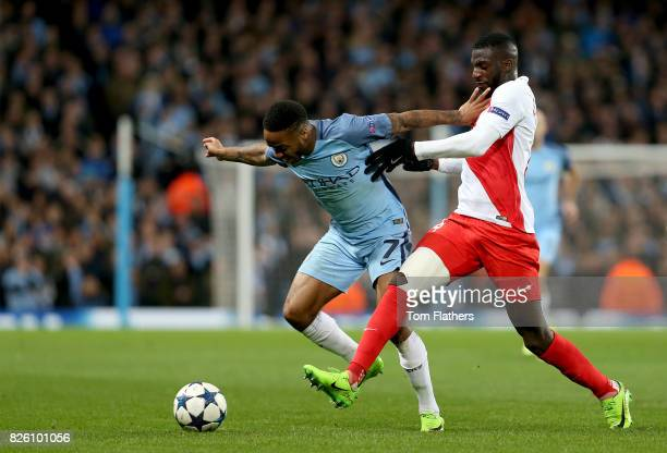 Manchester City's Raheem Sterling and Monaco's Tiemoue Bakayoko battle for the ball