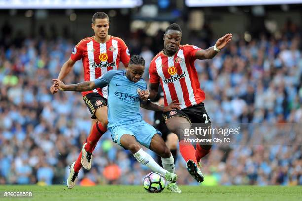 Manchester City's Raheem Sterling and Sunderland's Jack Rodwell and Lamine Kone in action during the Barclay's Premiership match at the Etihad...