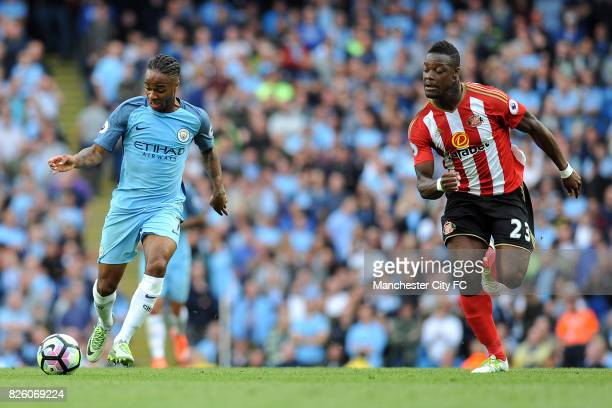 Manchester City's Raheem Sterling and Sunderland's Lamine Kone in action during the Barclay's Premiership match at the Etihad Stadium Manchester on...