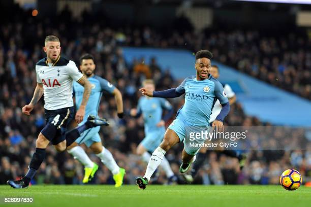 Manchester City's Raheem Sterling and Tottenham Hotspur's Toby Alderweireld in action during the Premiership match at the Etihad Stadium Manchester...