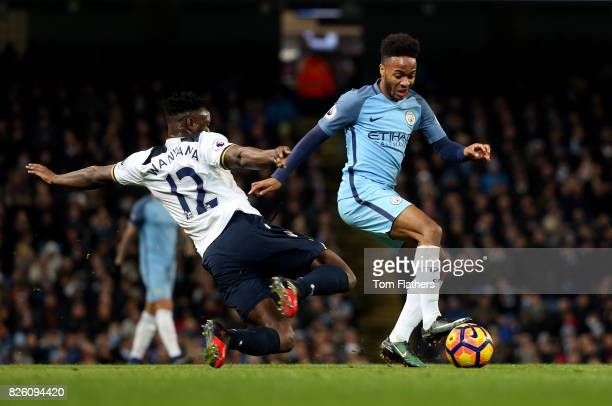 Manchester City's Raheem Sterling and Tottenham Hotspur's Victor Wanyama battle for the ball