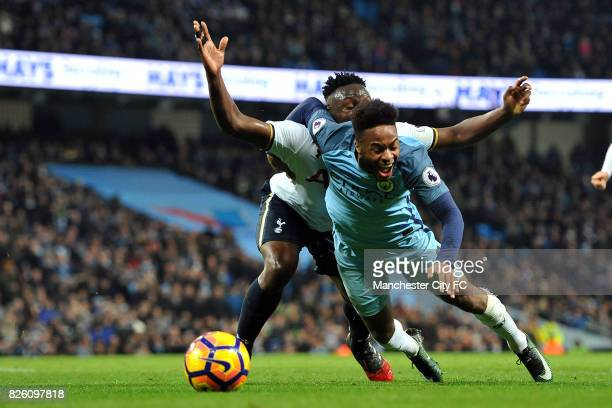 Manchester City's Raheem Sterling and Tottenham Hotspur's Victor Wanyama in action during the Premiership match at the Etihad Stadium Manchester on...