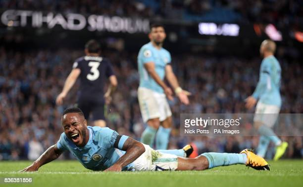 Manchester City's Raheem Sterling reacts after a missed chance during the Premier League match at the Etihad Stadium Manchester