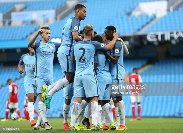 Manchester City's Rodney Kongolo celebrates his goal against Arsenal with his team mates