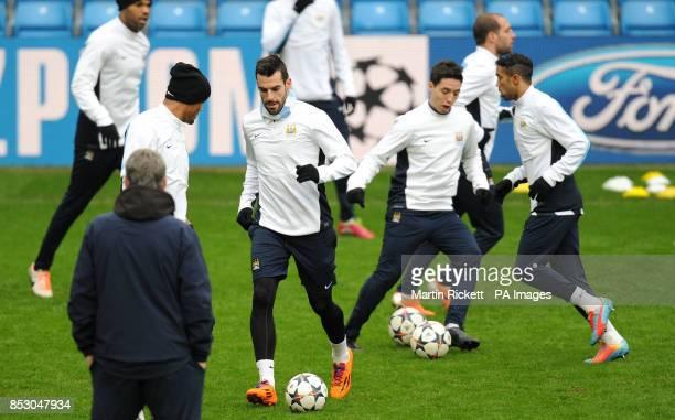 Manchester City's Samir Nasri and Alvaro Negredo during the training session at the Etihad Stadium Manchester