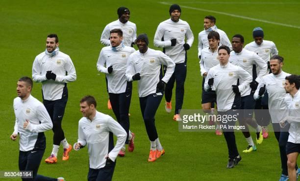 Manchester City's Samir Nasri Yaya Toure and Alvaro Negredo during the training session at the Etihad Stadium Manchester