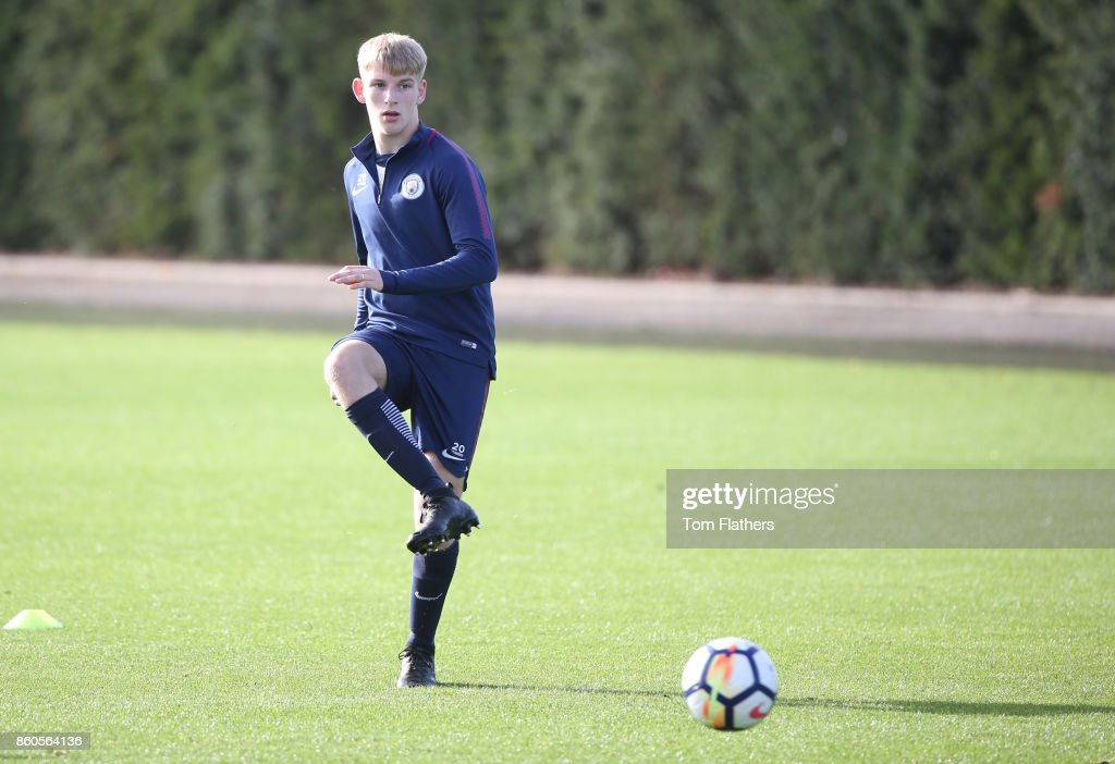 Manchester City's Samson Robinson during training at Manchester City Football Academy on October 12, 2017 in Manchester, England.