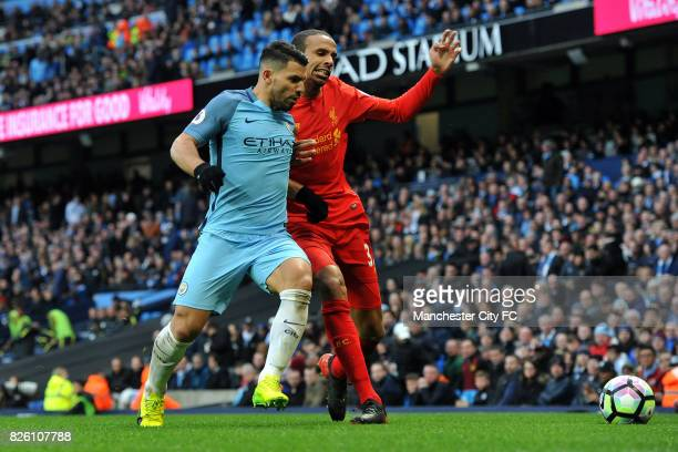 Manchester City's Sergio Aguero and Liverpool's Joel Matip in action during the Barclay's Premiership match at the Etihad Stadium Manchester on 19th...