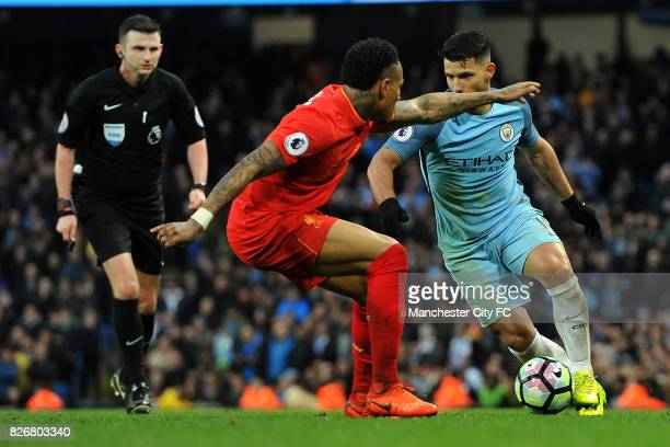 Manchester City's Sergio Aguero and Liverpool's Nathaniel Clyne in action during the Barclay's Premiership match at the Etihad Stadium Manchester on...