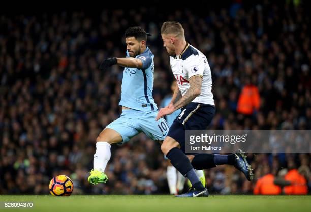 Manchester City's Sergio Aguero and Tottenham Hotspur's Toby Alderweireld battle for the ball