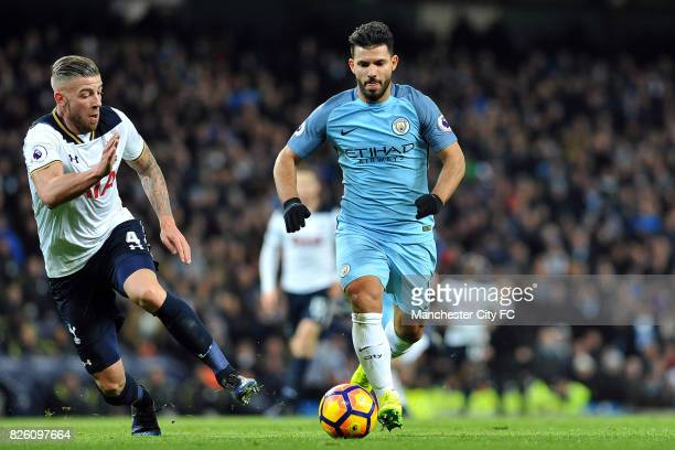 Manchester City's Sergio Aguero and Tottenham Hotspur's Toby Alderweireld in action during the Premiership match at the Etihad Stadium Manchester on...