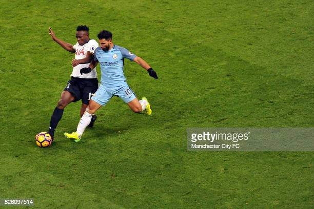 Manchester City's Sergio Aguero and Tottenham Hotspur's Victor Wanyama in action during the Premiership match at the Etihad Stadium Manchester on...