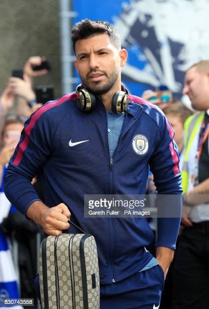Manchester City's Sergio Aguero arrives at the stadium prior to the Premier League match at the AMEX Stadium Brighton