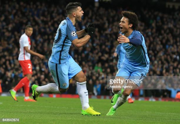 Manchester City's Sergio Aguero celebrates scoring a goal during the UEFA Champions League Round of 16 soccer match between Manchester City FC and AS...