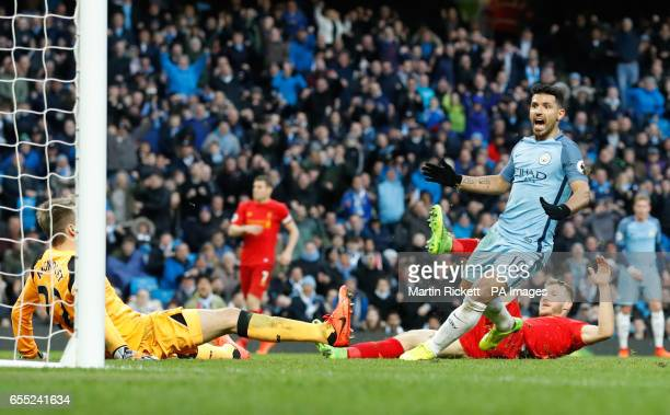 Manchester City's Sergio Aguero celebrates scoring his side's first goal of the game during the Premier League match at the Etihad Stadium Manchester