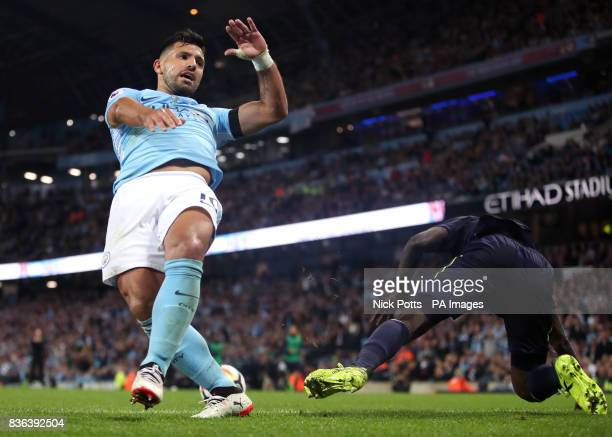 Manchester City's Sergio Aguero collides with Everton's Idrissa Gueye during the Premier League match at the Etihad Stadium Manchester