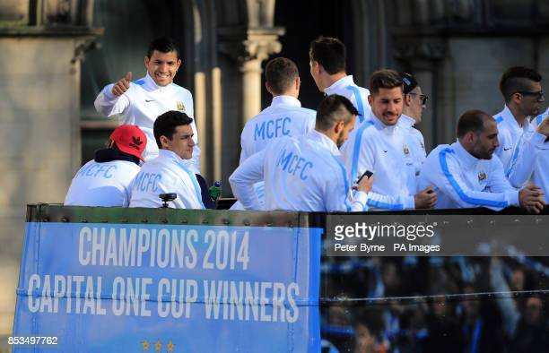 Manchester City's Sergio Aguero during the Barclays Premier League Victory Parade in Manchester
