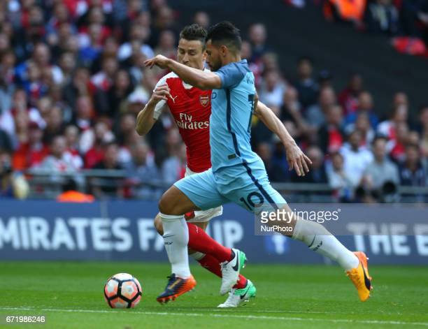 Manchester City's Sergio Aguero during The Emirates FA Cup SemiFinal match between Arsenal and Manchester City at Wembley Stadium London 23 April 2017