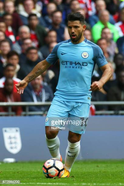 Manchester City's Sergio Aguero during the prematch warmup during The Emirates FA Cup SemiFinal match between Arsenal and Manchester City at Wembley...