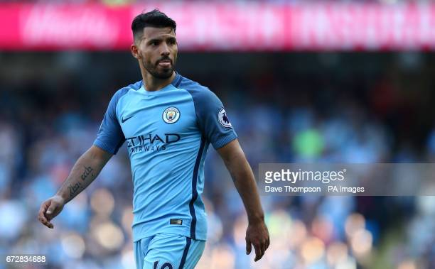 Manchester City's Sergio Aguero during the Premier League match at the Etihad Stadium Manchester