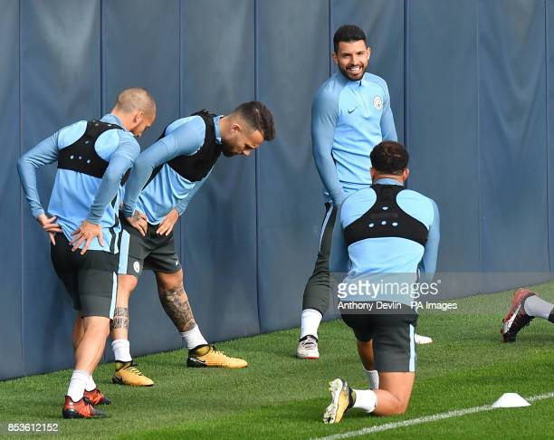 Manchester City's Sergio Aguero during the training session at the CFA Manchester