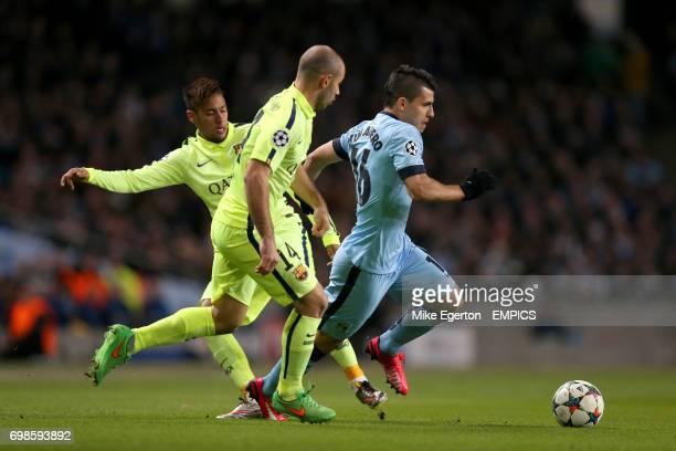 Manchester City's Sergio Aguero gets away from Barcelona's Neymar and Javier Mascherano