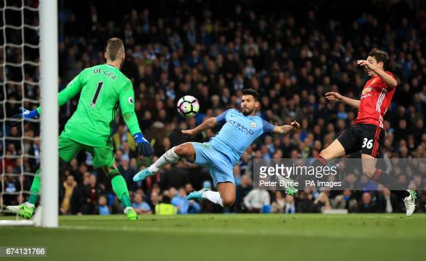 Manchester City's Sergio Aguero has a shot attempt on goal during the Premier League match at the Etihad Stadium Manchester