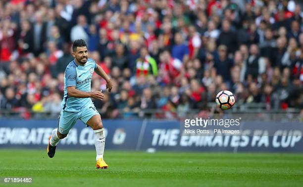 Manchester City's Sergio Aguero in action during the Emirates FA Cup Semi Final match at Wembley Stadium London