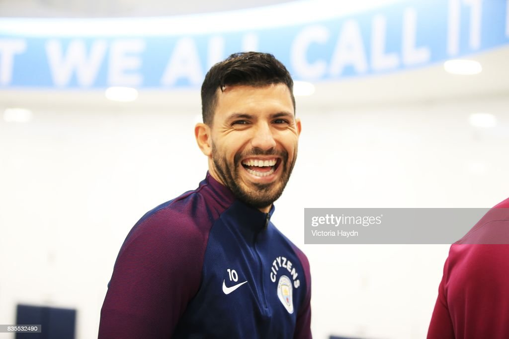 Manchester City's Sergio Aguero in the newly renovated dressing room at Etihad Stadium on August 19, 2017 in Manchester, England.