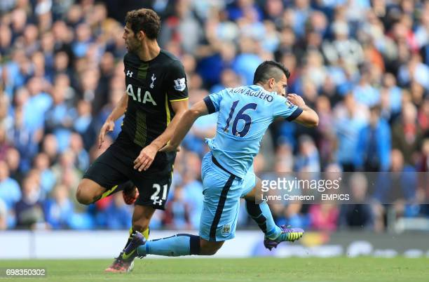 Manchester City's Sergio Aguero is fouled by Tottenham Hotspur's Federico Fazio