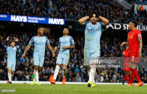 Manchester City's Sergio Aguero reacts after missinga chance during the Premier League match at the Etihad Stadium Manchester