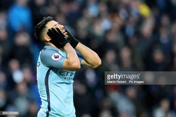 Manchester City's Sergio Aguero reacts during the Premier League match at the Etihad Stadium Manchester