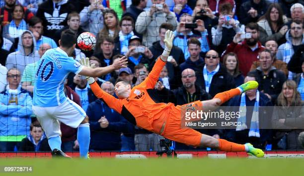 Manchester City's Sergio Aguero scores their second goal from the penalty spot