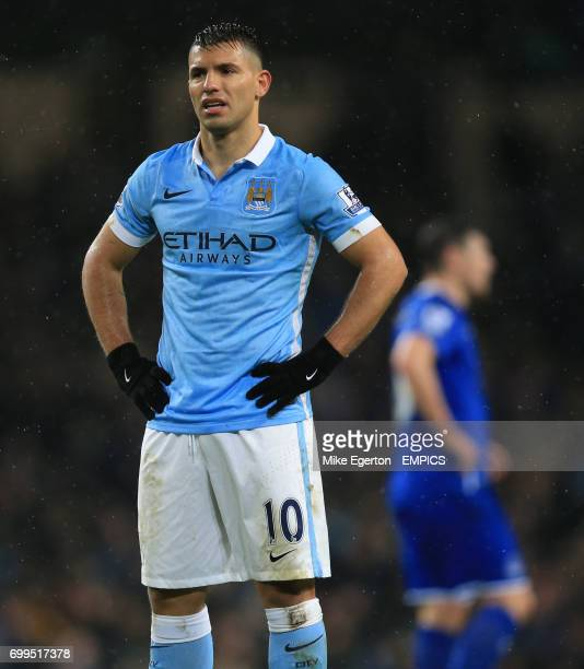 Manchester City's Sergio Aguero stands dejected