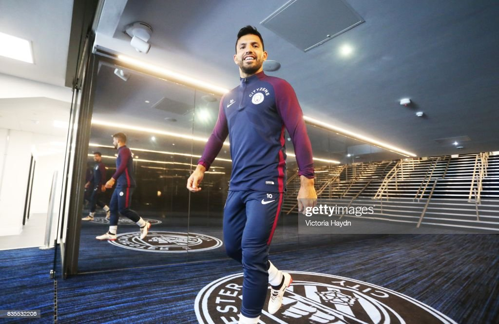 Manchester City's Sergio Aguero visits the new glass tunnel for the first time at Etihad Stadium on August 19, 2017 in Manchester, England.