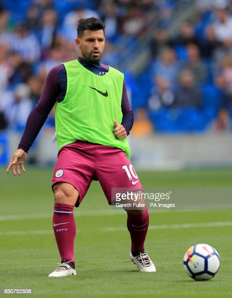 Manchester City's Sergio Aguero warms up prior to the Premier League match at the AMEX Stadium Brighton