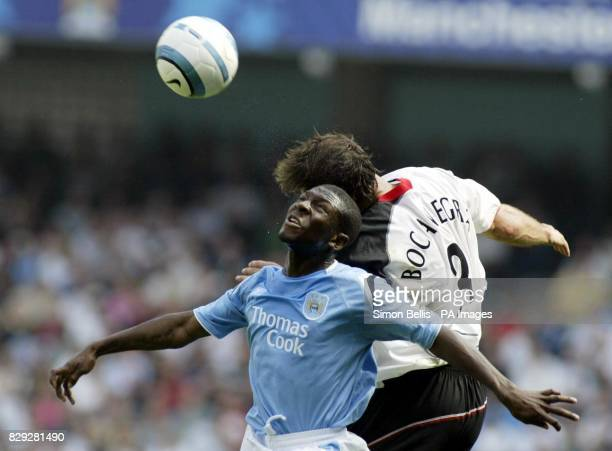 Manchester City's Shaun WrightPhillips and Fulham's Carlos Bocanegra during their Barclays Premiership match at the City of Manchester Stadium...