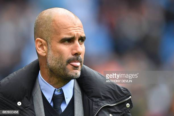 Manchester City's Spanish manager Pep Guardiola arrives for the English Premier League football match between Manchester City and Leicester City at...