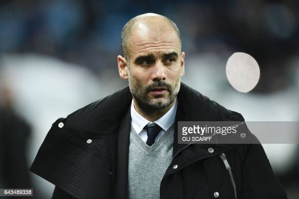 Manchester City's Spanish manager Pep Guardiola arrives for the UEFA Champions League Round of 16 firstleg football match between Manchester City and...