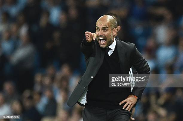 Manchester City's Spanish manager Pep Guardiola gesutres on the touchline during the UEFA Champions League group C football match between Manchester...